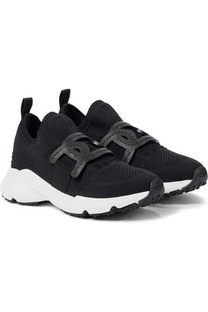 Tod's Dame Sneakers - Leather-trimmed knit sneakers