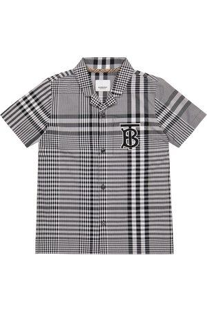 Burberry Kids Gutt Skjorter - Logo checked cotton poplin shirt