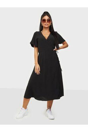 Vila Dame Hverdagskjoler - Vilovie S/S Wrap Midi Dress/Su - No Black