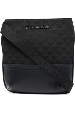 Emporio Armani Quilted logo-lettering messenger bag