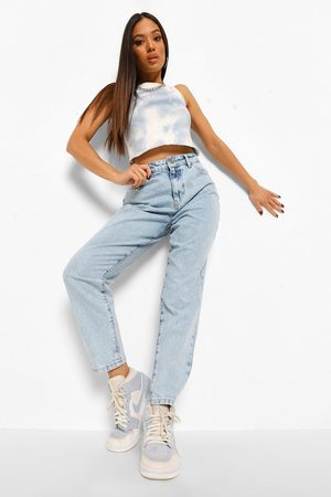 Boohoo Petite Acid Wash Raw Hem Tapered Jean