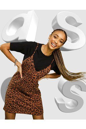 ASOS 2 in 1 mini short sleeve dress with slip in leopard print-Black