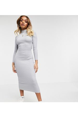 Missguided Petite midaxi dress with tie-back in grey