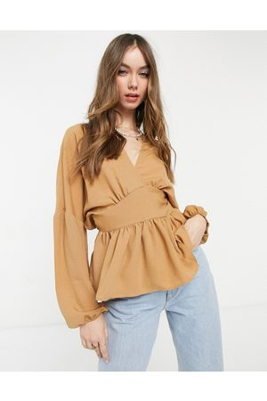 ASOS Long sleeve wrap front top in camel-Brown