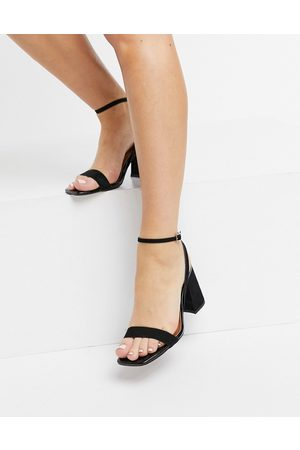 ASOS Hudson barely there block heeled sandals in black