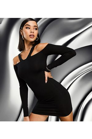 AsYou Cut out bodycon mini dress in black