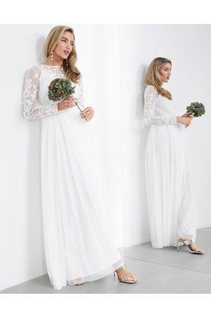ASOS Ayla embroidered bodice maxi wedding dress-White