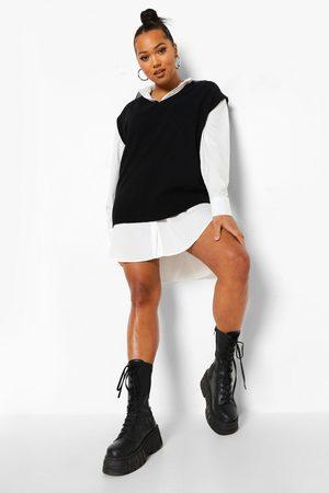 Boohoo Plus 2 In 1 Oversized Jumper Shirt Dress