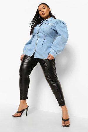 Boohoo Plus Cinched Oversized Denim Shirt