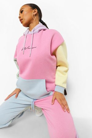 Boohoo Woman Embroidered Pastel Colour Block Joggers