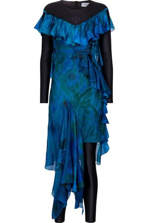 Marine Serre Dame Hverdagskjoler - Exclusive to Mytheresa – Printed silk and stretch-jersey dress