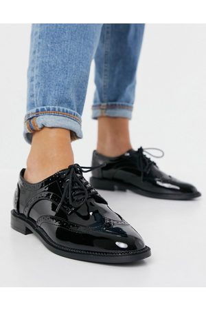 ASOS More flat lace up shoes in black