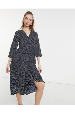Vero Moda Wrap midi dress in navy spot-Multi