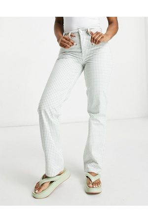 ASOS Mid rise '90's straight leg jeans in green gingham