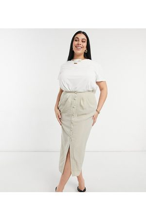 ASOS ASOS DESIGN Curve midi pencil skirt with button and pocket detail in stone