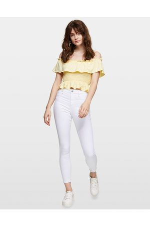 Miss Selfridge Lizzie recycled cotton high-waist skinny jeans in white