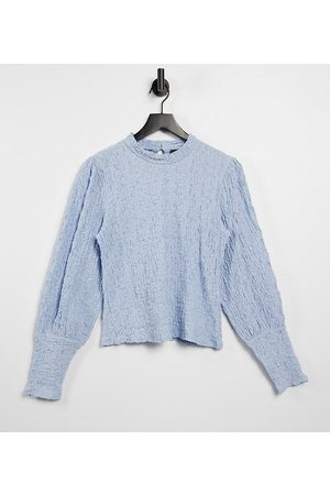 Y.A.S Exclusive textured top with volume sleeves in blue