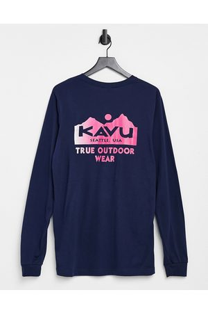 Kavu Dame Langermede - Logo long sleeve back print t-shirt in navy-Pink