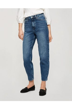 Miss Selfridge Mom high waist tapered jeans in dark blue wash