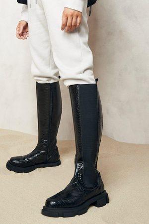 Boohoo Chunky Knee High Croc Chelsea Boots