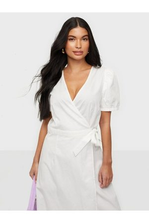 Vila Visille S/S Wrap Midi Dress Snow White