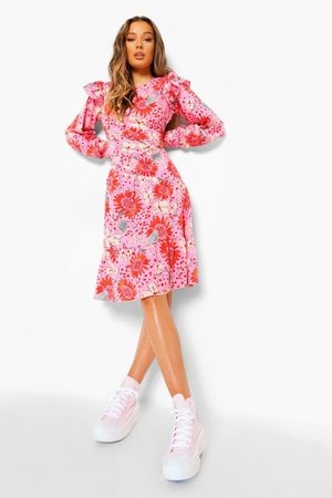 Boohoo Floral Long Sleeve Frill Shoulder Midi Dress