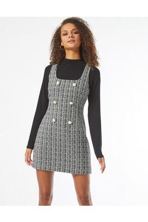 Miss Selfridge Boucle pinny dress in black
