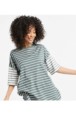 ASOS ASOS DESIGN Tall oversized t-shirt in cut-about washed stripe-Green