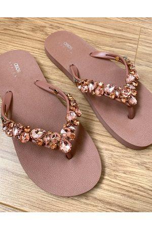 ASOS Flicker embellished flip flops in rose gold