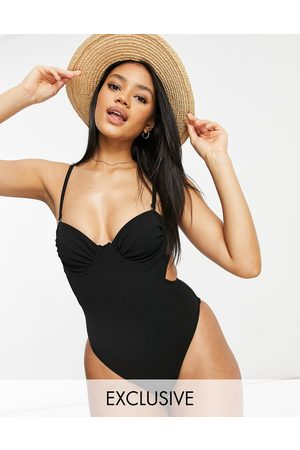 Fashion Union Exclusive underwired swimsuit with ruching detail in black
