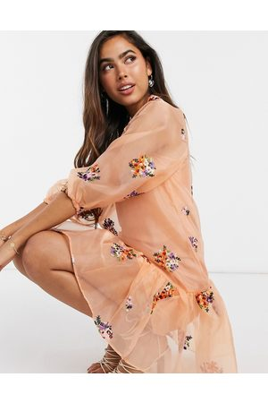ASOS Organza embroidered mini smock dress with balloon sleeves in peach-Pink