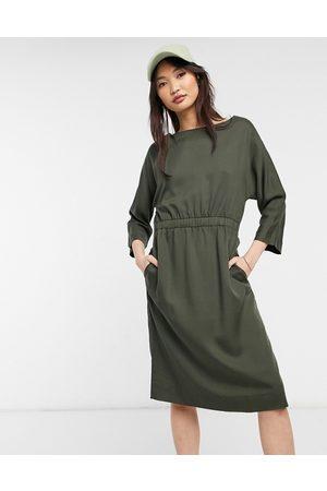 Kings of Indigo Long sleeve midi dress in olive green