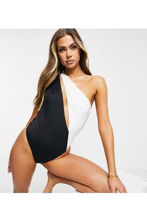 Free Society One shoulder cut out swimsuit in black and white-Multi