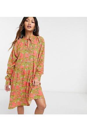 Native Youth Smock dress with high pleated collar in leopards print-Pink