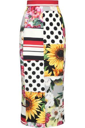 Dolce & Gabbana Silk Charmeuse Pencil Midi Skirt
