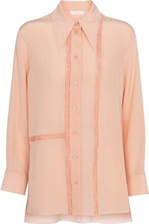 Chloé Dame Bluser - Lace-trimmed silk blouse