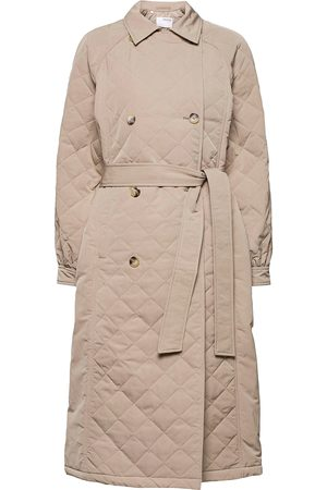 Selected Dame Trenchcoats - Slfninna Quilted Trenchcoat Trench Coat Kåpe Brun