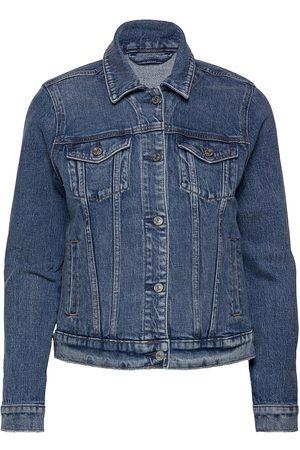 Abercrombie & Fitch Dame Denimjakker - Anf Womens Outerwear Dongerijakke Denimjakke Blå