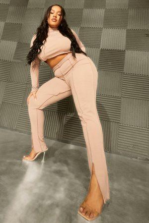 Boohoo Plus Rib Seam Detail Top and Split Hem Leggings