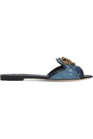 Dolce & Gabbana 10mm Patchwork Slide Flats