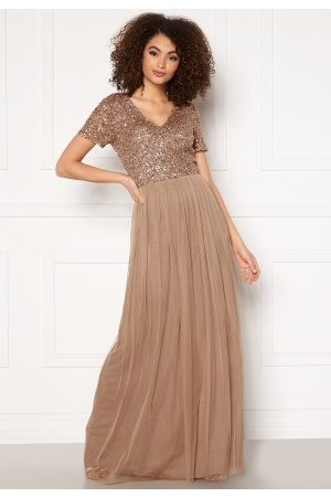 Angeleye Short Sleeve Sequin Dress Taupe S (UK10)