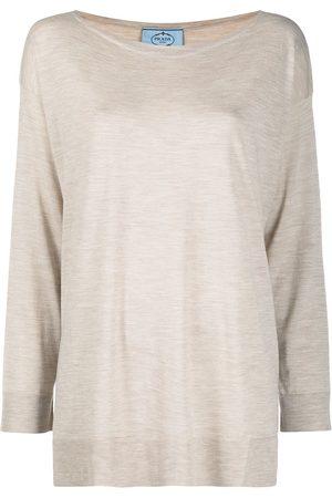 Prada Dame Kortermede - Mélange-effect T-shirt