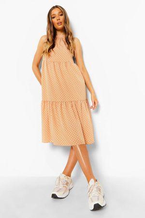 Boohoo Polka Dot Sleeveless Midi Smock Dress