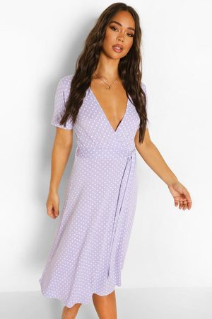 Boohoo Dame Hverdagskjoler - Polka Dot Belted Midi Wrap Tea Dress