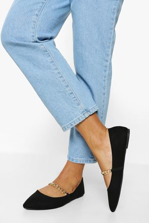 Boohoo Wide Fit Chain Detail Pointed Flats