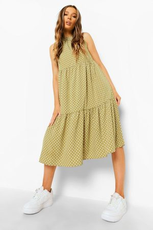 Boohoo Polka Dot Sleeveless Midi Smock Dress