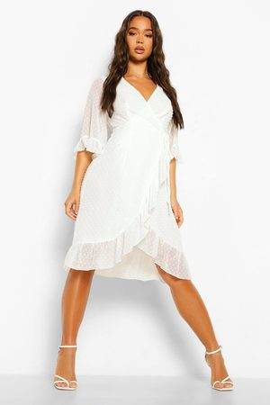 Boohoo Dame Hverdagskjoler - Dobby Chiffon Wide Sleeve Midi Wrap Dress