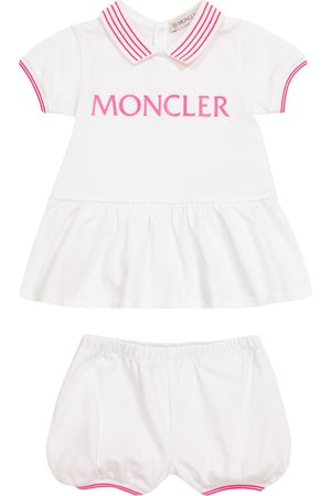 Moncler Sett - Baby logo cotton dress and bloomers set