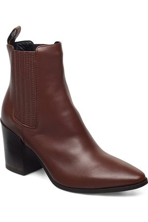 A Pair Dame Skoletter - Classic Western Elastic Shoes Boots Ankle Boots Ankle Boots With Heel Svart