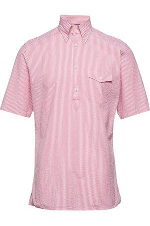 Eton Navy Striped Seersucker Short Sleeve Popover Shirt Kortermet Skjorte